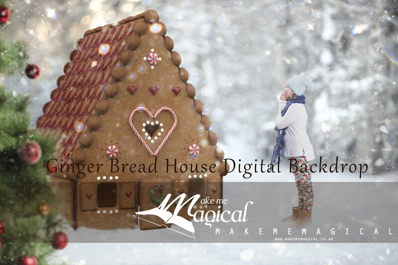 Miniature Christmas gingerbread house digital backdrop, ginger house digital background, cookie dough house digital backdrop makememagical