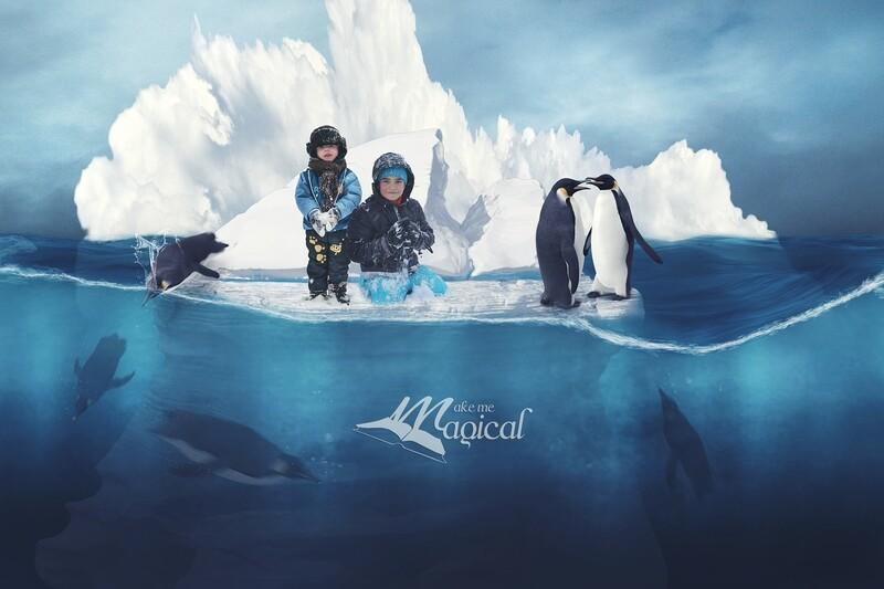 Digital Background | Digital Backdrop | Winter Backdrop | Iceberg Background | Penguin Background | Polar Backdrop | Ocean Backdrop | Snow