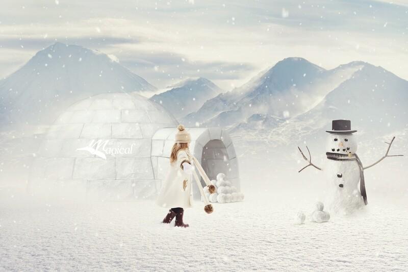 Christmas Digital Backdrop, Digital Background, Christmas Background, Xmas Backdrop, Snowman Backdrop, Igloo Backdrop, Snow Balls, winter