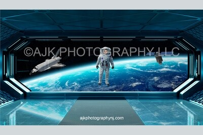 Astronaut floating in outer space digital background