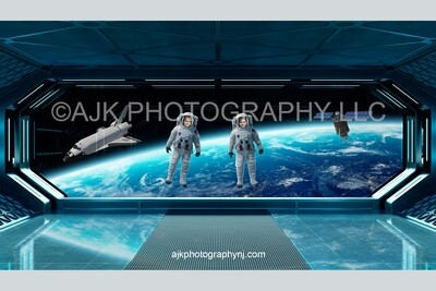 2 astronauts floating in outer space digital background