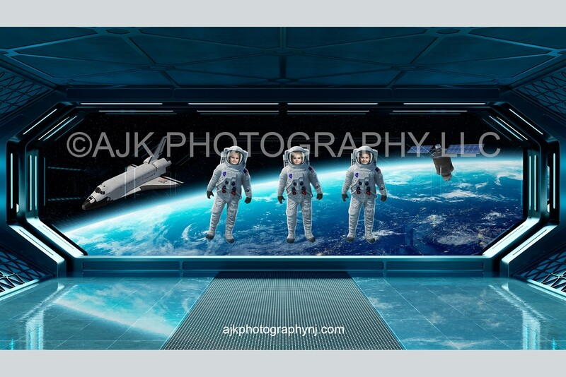 3 astronauts floating in outer space digital background