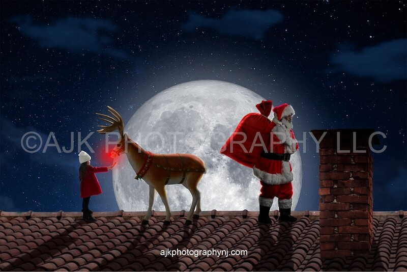 Child feeding Rudolph on roof and Santa holding bag of toys Christmas digital background