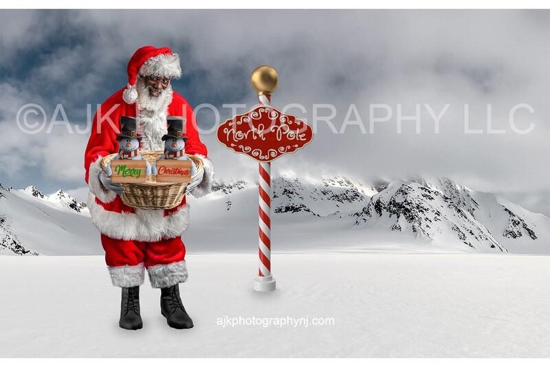 Santa holding snowmen in North Pole digital backdrop