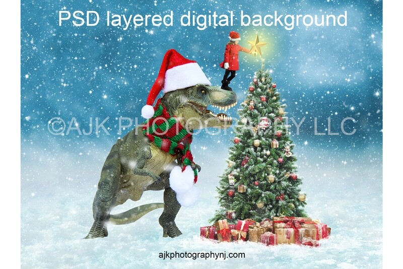 T rex dinosaur in front of Christmas tree digital background