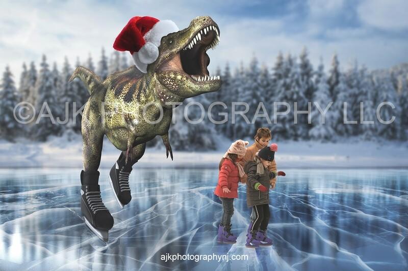 T-Rex dinosaur ice skating on frozen lake digital backdrop