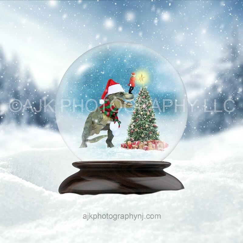 T Rex dinosaur inside snow globe in front of Christmas tree digital background