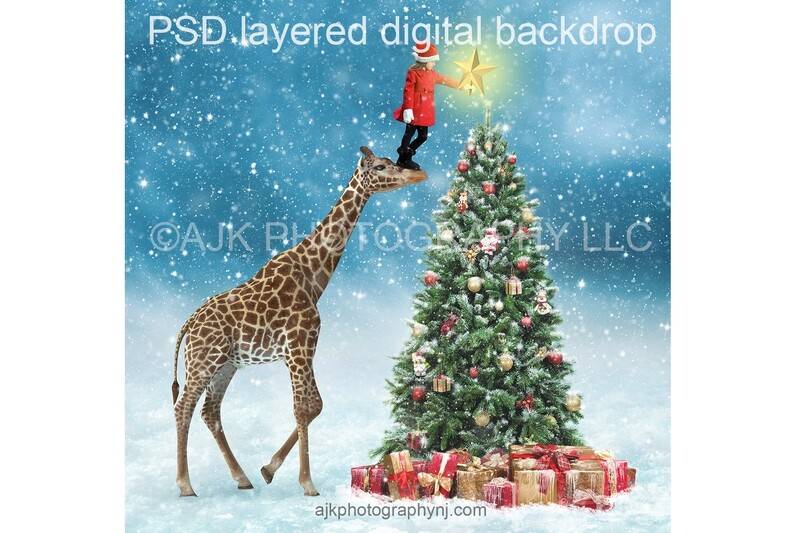 Giraffe in front of Christmas tree digital background