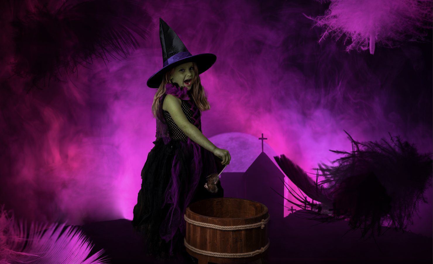 Halloween Witches Digital Background with Pink Spooky Sky