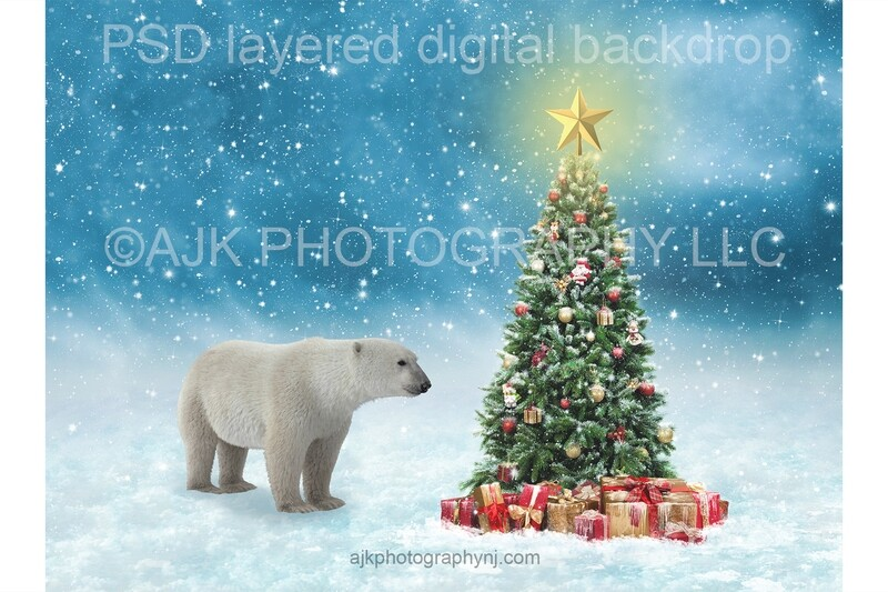 Polar bear in front of Christmas tree digital background