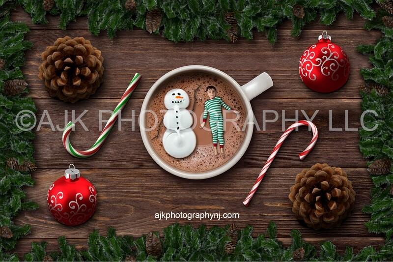 Marshmallow snowman floating in mug of hot chocolate Christmas digital backdrop