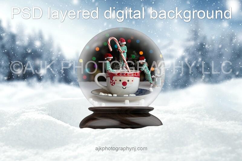 Mug of hot chocolate with candy cane stir stick Christmas digital background
