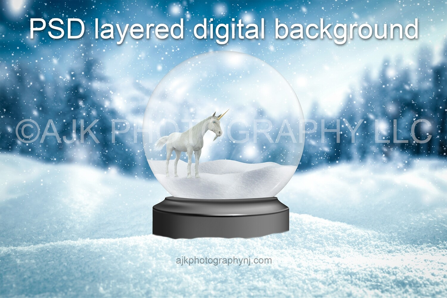 Unicorn standing in a field of snow while it's snowing digital background