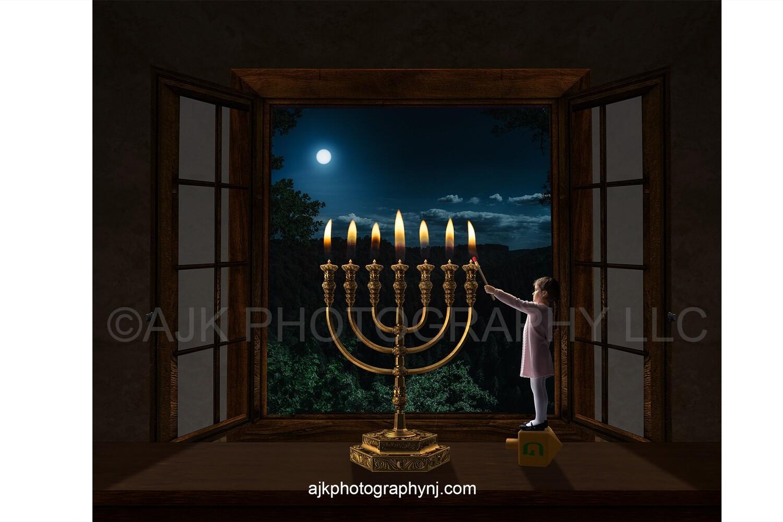 Miniature person standing on dreidel lighting a 7 candle menorah Hanukkah digital background