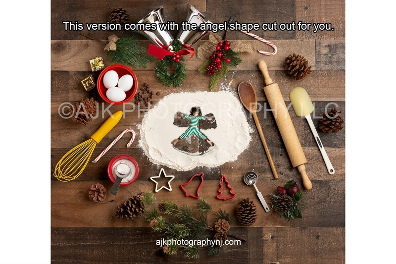 Christmas Flour Angel with angel shape in flour Digital Backdrop - candy cane, pine cone, silver bells, digital background by Eric Miele from AJK Photography