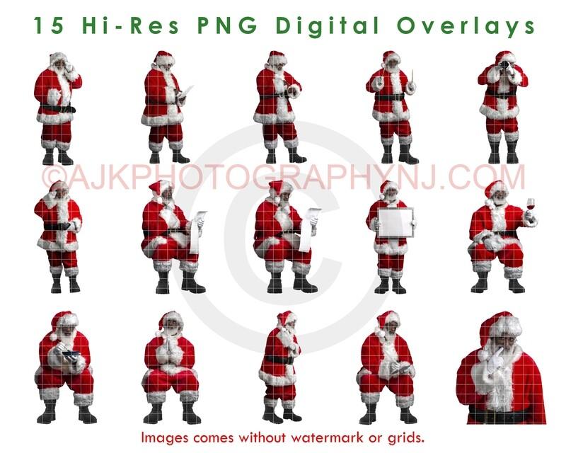 15 Santa Overlays, Hi Resolution PNG Digital Overlay Black Santas, Big Bundle, Santa Claus, Holiday, Christmas by Eric Miele from AJK Photography