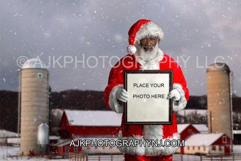 Black Santa Holding a Frame on Farm in snow Digital Background, Christmas Digital Backdrop by Eric Miele from AJK Photography