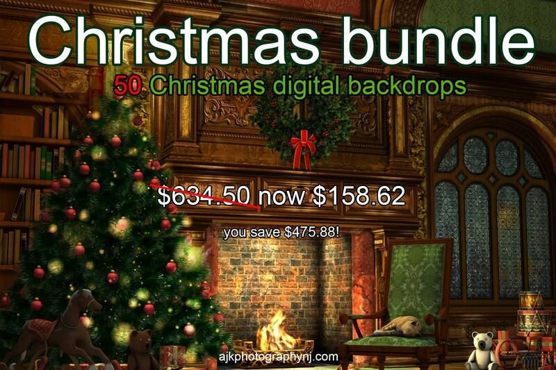 Christmas bundle - 50 Christmas digital backdrops