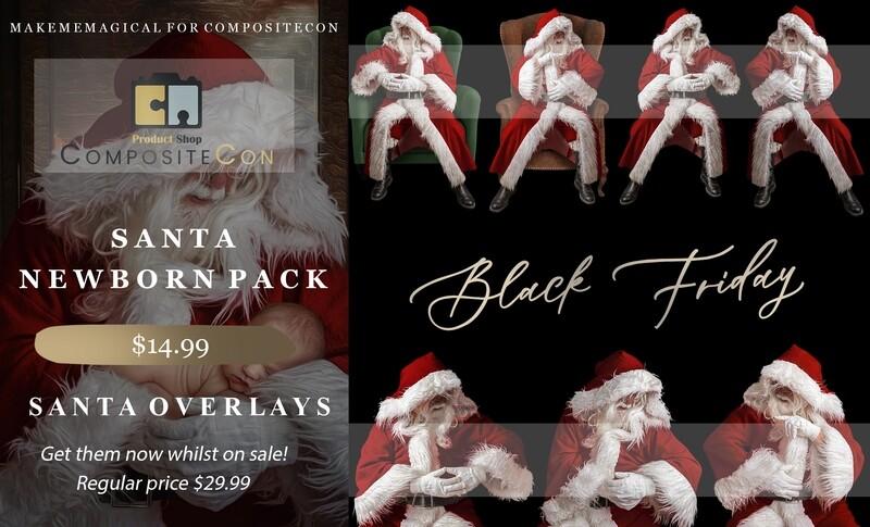 Christmas Newborn Santa Overlays and BONUS FREE Backdrop BONUS FREE Vintage Action and BONUS FREE tutorial video!!