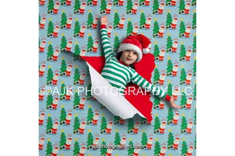 Christmas digital PNG overlay, Santa and Christmas tree torn wrapping paper digital backdrop