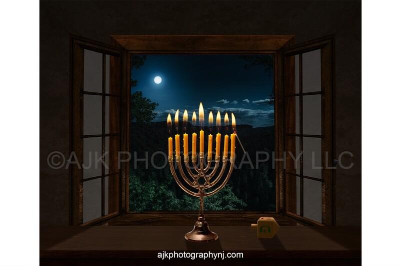 Miniature person standing on dreidel lighting a 9 candle menorah Hanukkah digital background
