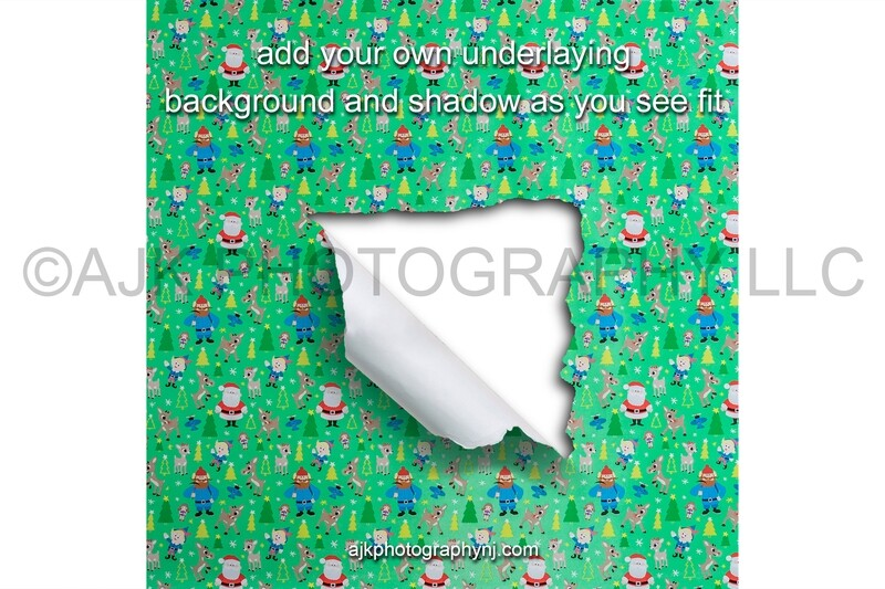 Torn green Christmas wrapping paper, PNG digital overlay, digital backdrop, digital background