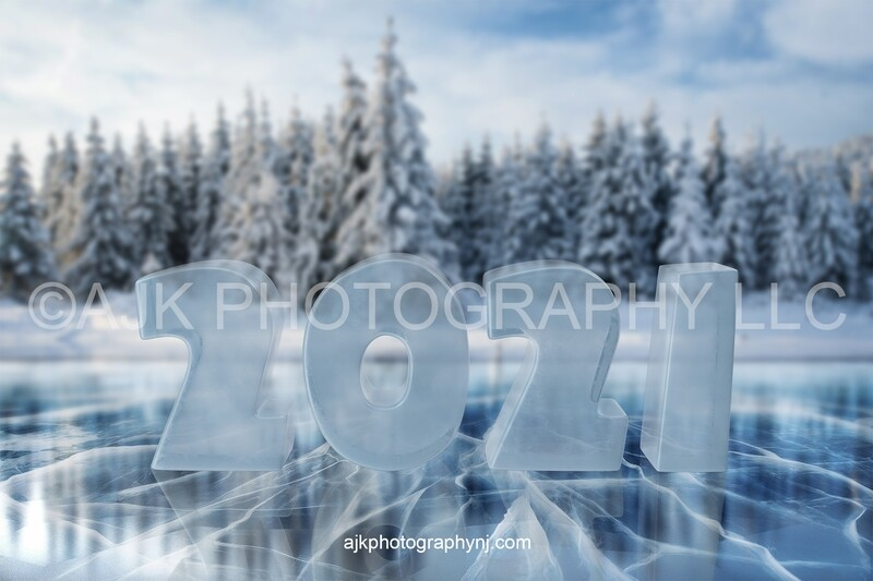 New years digital backdrop, 2021 ice numbers digital background