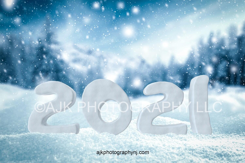 New years digital backdrop, 2021 snow numbers digital background