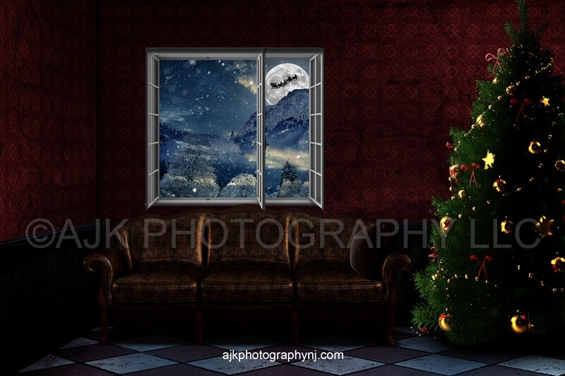 Santa Claus flying in sleigh across large moon in front of a barn loft decorated for Christmas digital backdrop