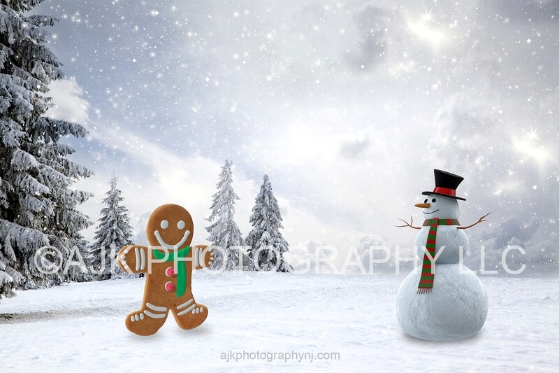 Gingerbread man and snowman digital backdrop, field of snow, snowing, digital background
