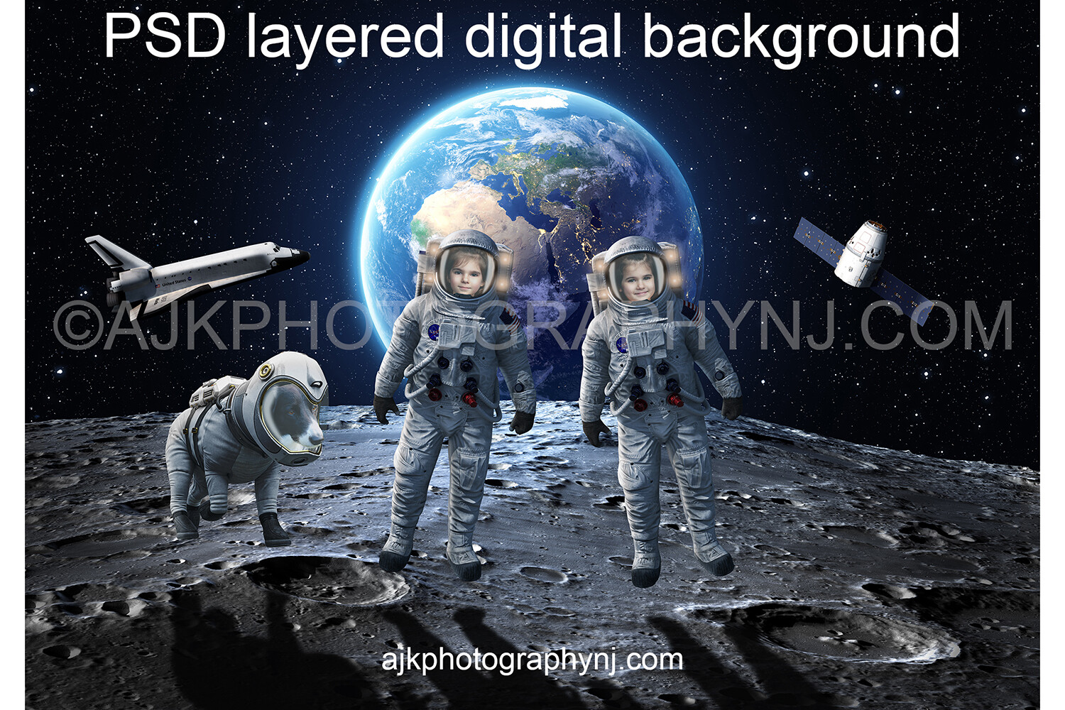 Astronaut digital background, two astronauts and a dog in outer space on the moon, with the Earth, space shuttle and satellite behind them