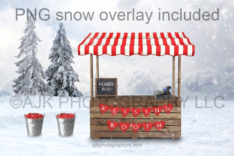 Valentine's Day digital background, kissing booth, buckets of hearts, digital backdrop