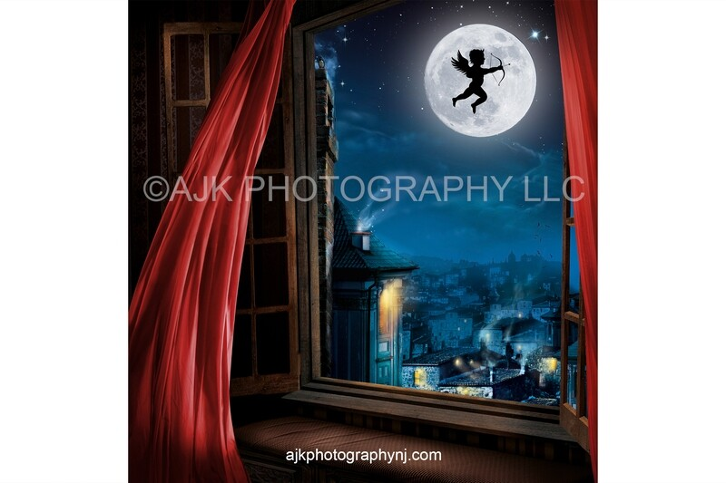 Valentines Day digital background, cupid flying across moon over an old town, red drapes, digital backdrop
