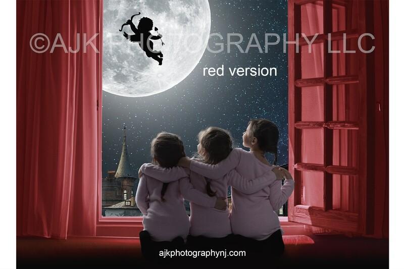 Valentines Day digital background, cupid flying across moon, red window, digital backdrop