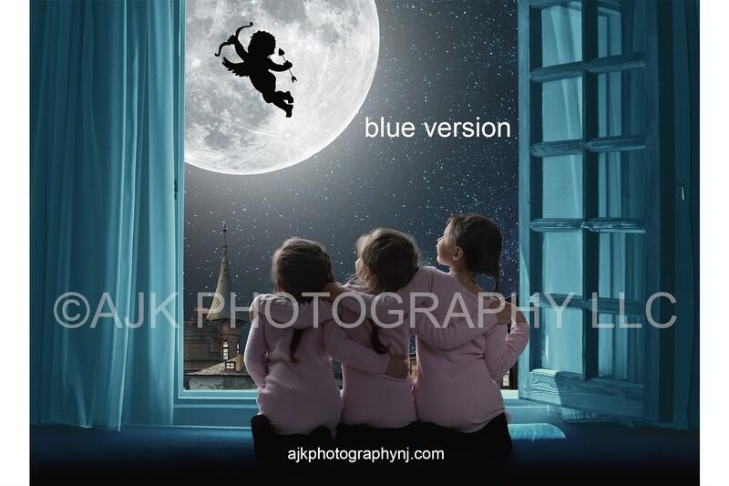 Valentines Day digital background, cupid flying across moon, blue window, digital backdrop
