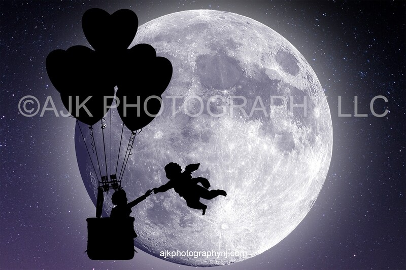 Valentines Day digital background, silhouette of flying cupid cherub, large moon, hot air balloon,  heart balloons, digital backdrop