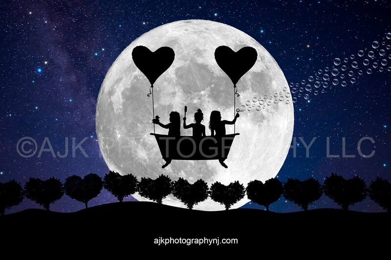 Valentines Day digital background, heart shaped balloons, flying bathtub, heart shaped trees, large moon, silhouette digital backdrop