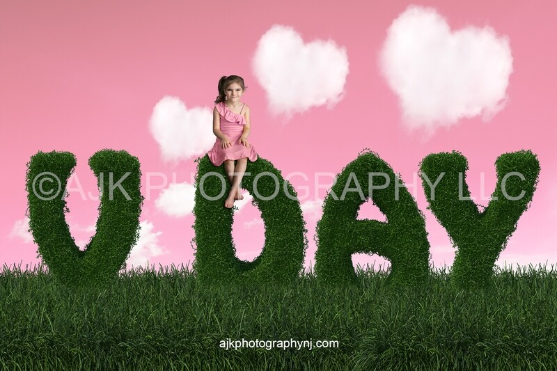 Valentines Day digital background, V day bush letters, field of grass, pink sky, heart shaped clouds, digital backdrop