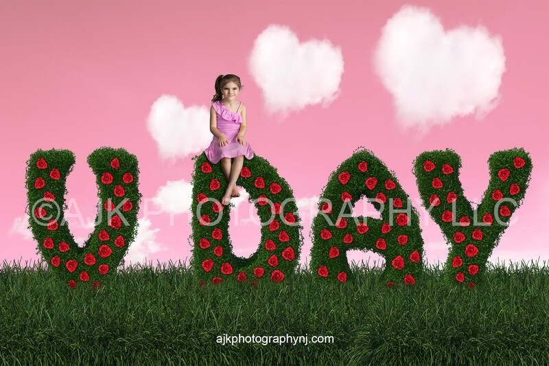 Valentines Day digital background, V day bush letters, red roses, field of grass, pink sky, heart shaped clouds, digital backdrop