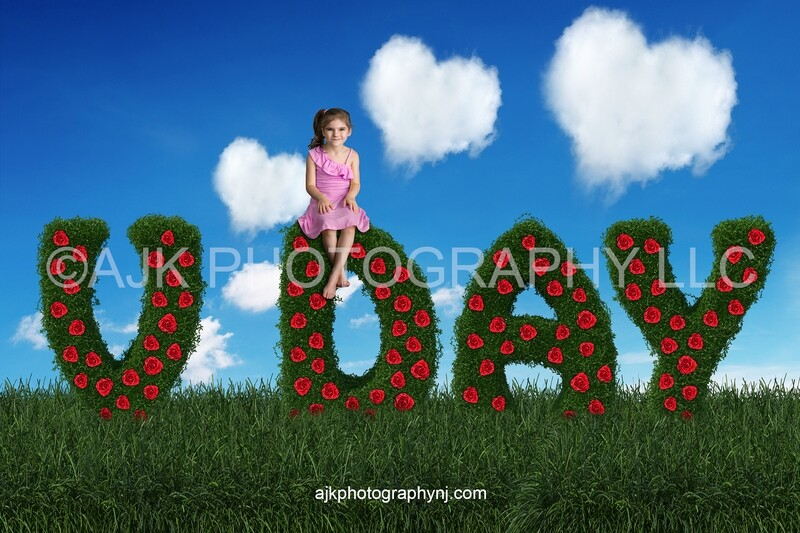 Valentines Day digital background, V day bush letters, red roses, field of grass, blue sky, heart shaped clouds, digital backdrop