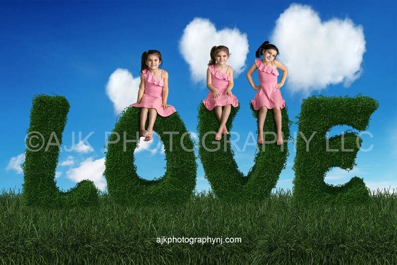 Valentines Day digital background, love letters, bush letters, heart shaped clouds, blue sky, digital backdrop