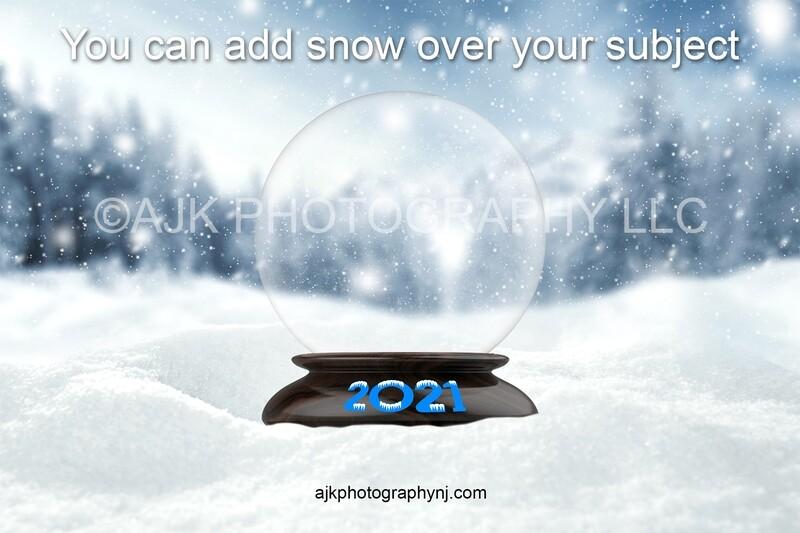 2021 New Years digital backdrop, Empty snow globe in field of snow, 2021 snow globe, snow letters, digital background