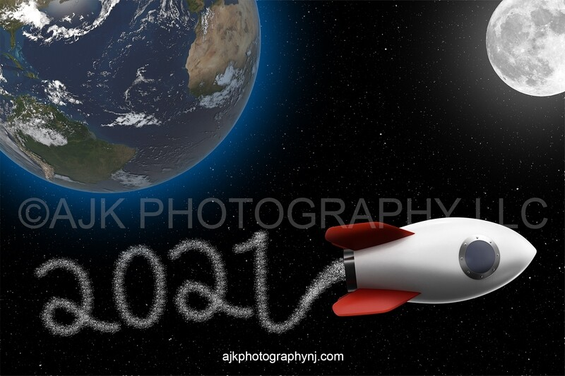 Graduation digital backdrop, 2021 digital background, rocket ship with 2021 stars coming out of it writing 2021 in outer space