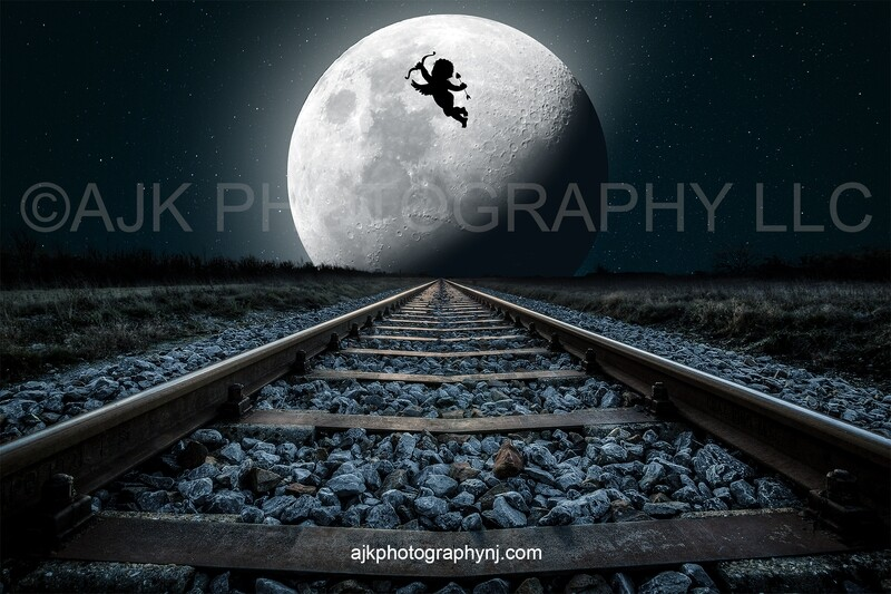 Valentines Day digital background, cupid flying across the moon over railroad tracks, digital backdrop
