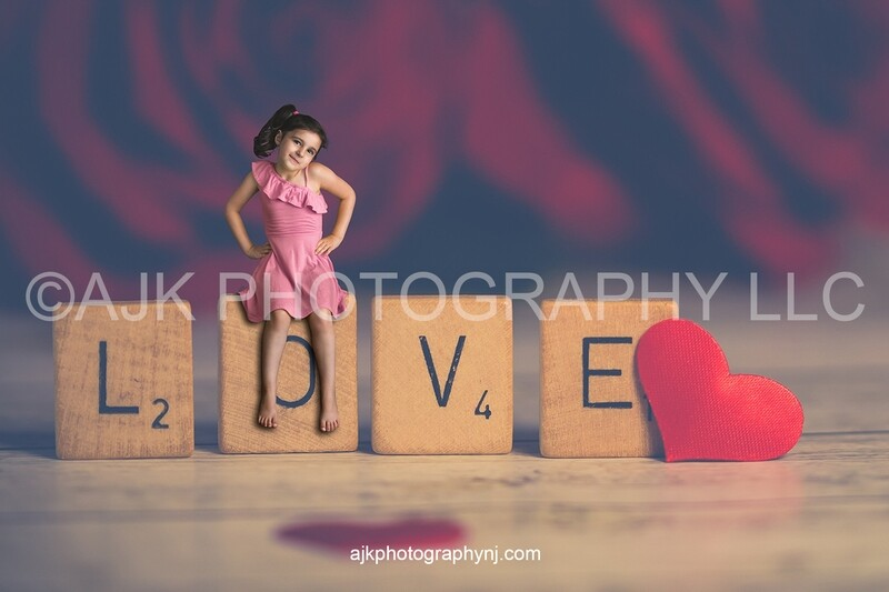 Valentines Day digital background, scrabble letters spelling the word love, little paper hearts, digital backdrop