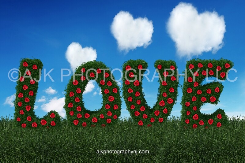 Valentines Day digital background, love letters, bush letters with red roses, heart shaped clouds, blue sky, digital backdrop