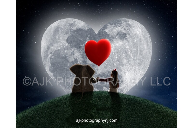 Valentines Day digital background, an elephant sitting on a grassy hill holding a red heart shaped balloon in front of a heart shaped moon digital backdrop