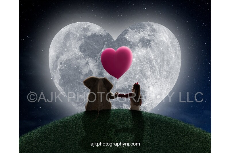 Valentines Day digital background, an elephant sitting on a grassy hill holding a pink heart shaped balloon in front of a heart shaped moon digital backdrop