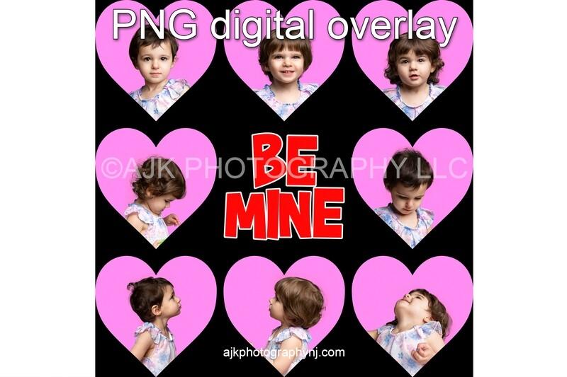 Valentine digital backdrop, heart shaped template, be mine lettering, PNG overlay, digital background