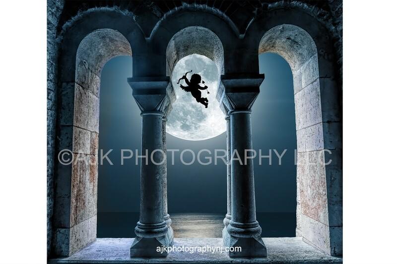 Valentines digital background, cupid flying across moon, gothic window archway, digital backdrop